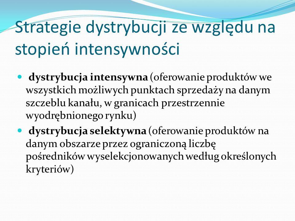 Strategie dystrybucji ze względu na stopień intensywności dystrybucja intensywna (oferowanie produktów we wszystkich możliwych punktach sprzedaży na d