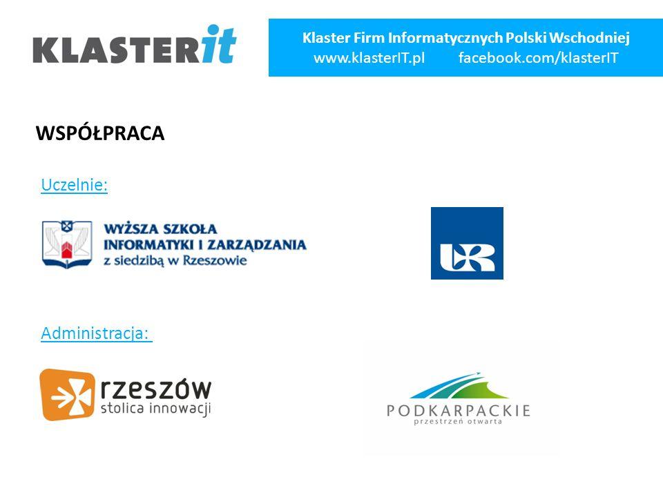 WSPÓŁPRACA Uczelnie: Administracja: Klaster Firm Informatycznych Polski Wschodniej www.klasterIT.pl facebook.com/klasterIT