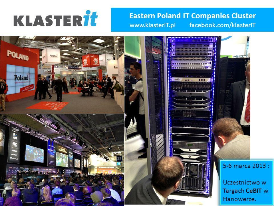 Eastern Poland IT Companies Cluster www.klasterIT.pl facebook.com/klasterIT 5-6 marca 2013 : Uczestnictwo w Targach CeBIT w Hanowerze.