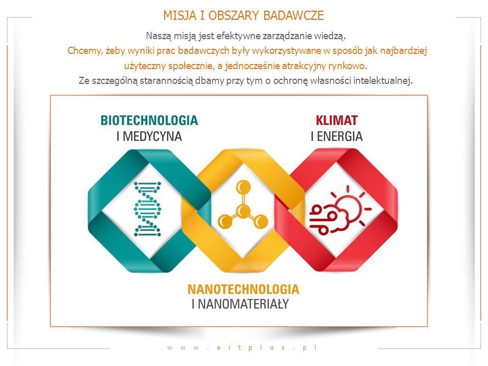 MISJA I OBSZARY BADAWCZE www.eitplus.pl Naszą misją jest efektywne zarządzanie wiedzą. Chcemy, żeby wyniki prac badawczych były wykorzystywane w sposó