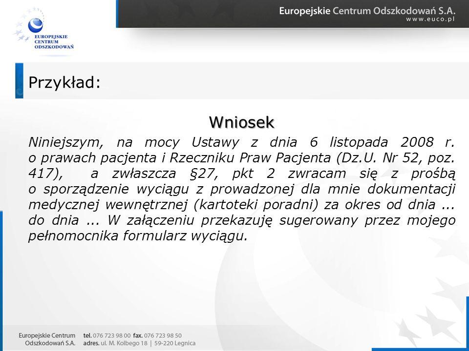 Wniosek Niniejszym, na mocy Ustawy z dnia 6 listopada 2008 r. o prawach pacjenta i Rzeczniku Praw Pacjenta (Dz.U. Nr 52, poz. 417), a zwłaszcza §27, p