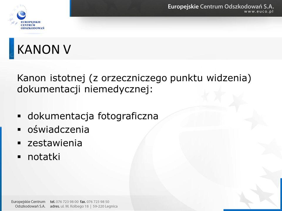 Kanon istotnej (z orzeczniczego punktu widzenia) dokumentacji niemedycznej:  dokumentacja fotograficzna  oświadczenia  zestawienia  notatki KANON
