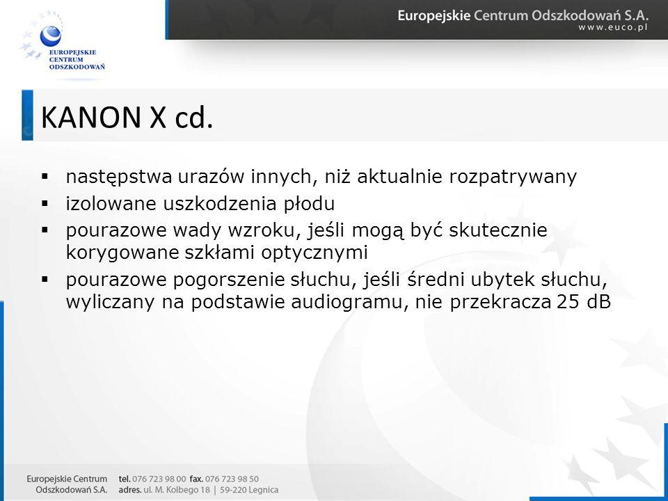  następstwa urazów innych, niż aktualnie rozpatrywany  izolowane uszkodzenia płodu  pourazowe wady wzroku, jeśli mogą być skutecznie korygowane szkłami optycznymi  pourazowe pogorszenie słuchu, jeśli średni ubytek słuchu, wyliczany na podstawie audiogramu, nie przekracza 25 dB KANON X cd.