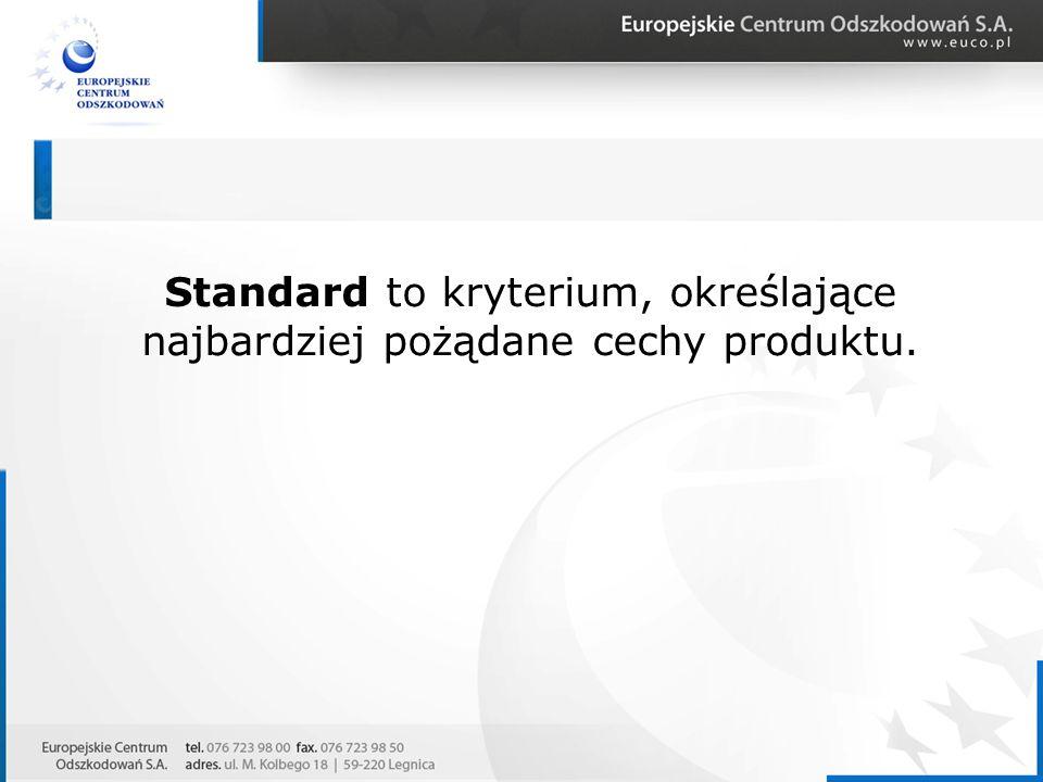Standard to kryterium, określające najbardziej pożądane cechy produktu.