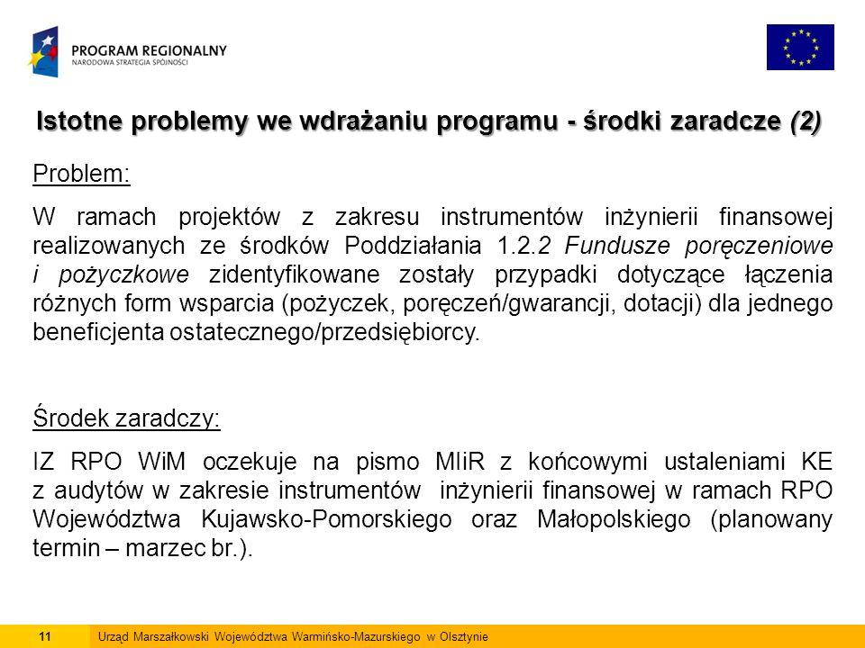 11Urząd Marszałkowski Województwa Warmińsko-Mazurskiego w Olsztynie Istotne problemy we wdrażaniu programu - środki zaradcze (2) Problem: W ramach projektów z zakresu instrumentów inżynierii finansowej realizowanych ze środków Poddziałania 1.2.2 Fundusze poręczeniowe i pożyczkowe zidentyfikowane zostały przypadki dotyczące łączenia różnych form wsparcia (pożyczek, poręczeń/gwarancji, dotacji) dla jednego beneficjenta ostatecznego/przedsiębiorcy.