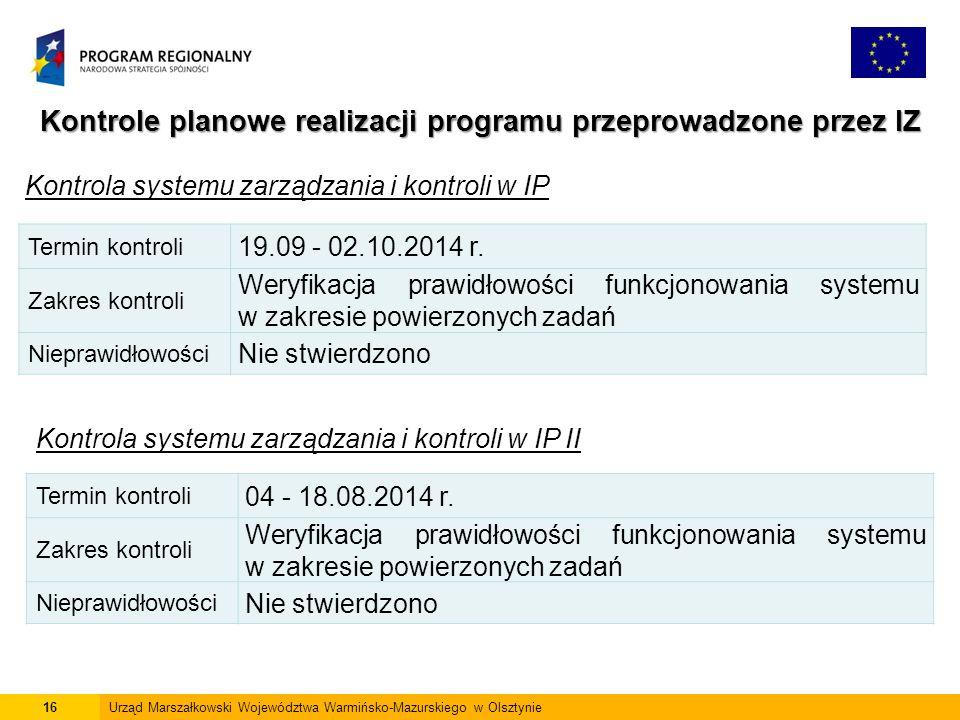 Kontrole planowe realizacji programu przeprowadzone przez IZ Kontrola systemu zarządzania i kontroli w IP 16Urząd Marszałkowski Województwa Warmińsko-Mazurskiego w Olsztynie Termin kontroli 19.09 - 02.10.2014 r.