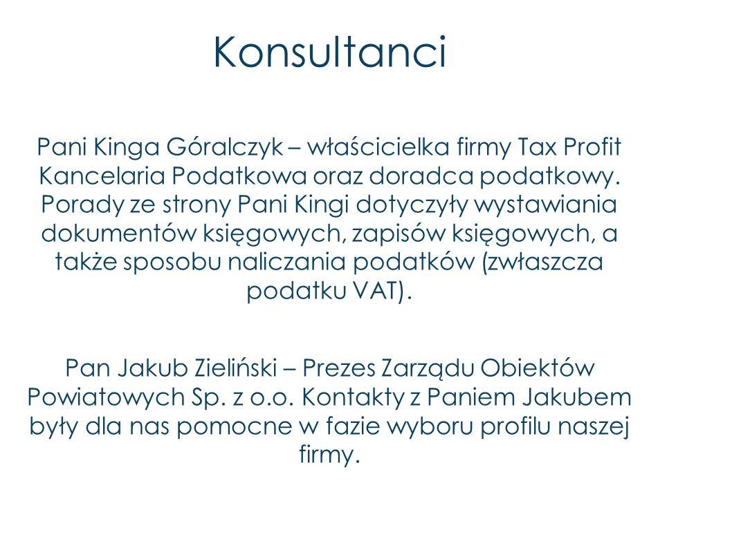 Konsultanci Pani Kinga Góralczyk – właścicielka firmy Tax Profit Kancelaria Podatkowa oraz doradca podatkowy. Porady ze strony Pani Kingi dotyczyły wy