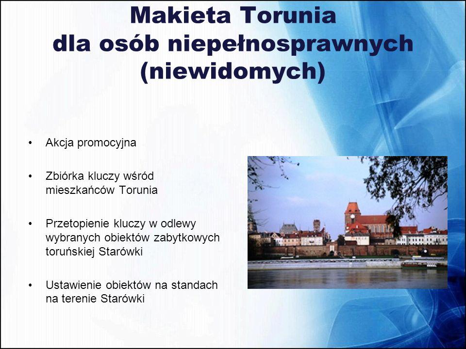 Makieta Torunia dla osób niepełnosprawnych (niewidomych) Akcja promocyjna Zbiórka kluczy wśród mieszkańców Torunia Przetopienie kluczy w odlewy wybran