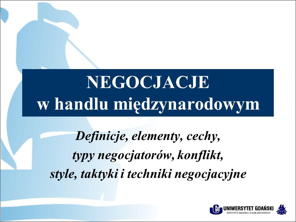 NEGOCJACJE w handlu międzynarodowym Definicje, elementy, cechy, typy negocjatorów, konflikt, style, taktyki i techniki negocjacyjne
