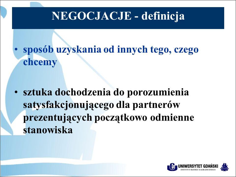 NEGOCJACJE - definicja proces komunikacji, którego celem jest osiągnięcie porozumienia lub sprowokowanie pozostałych uczestników negocjacji do podjęcia określonych działań proces przechodzenia dwóch stron od punktu, w którym dzieli ich problem – konflikt, do punktu, w którym osiągnęli porozumienie