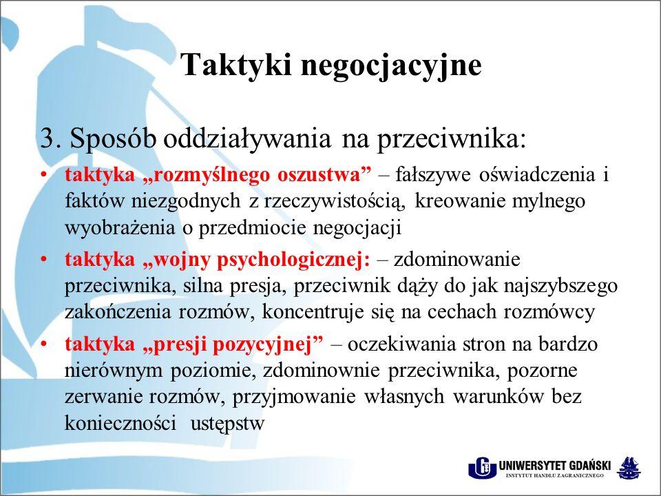 Taktyki negocjacyjne 3.