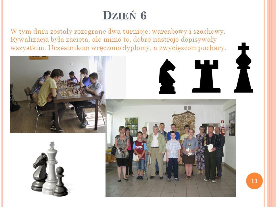 D ZIEŃ 6 13 W tym dniu zostały rozegrane dwa turnieje: warcabowy i szachowy. Rywalizacja była zacięta, ale mimo to, dobre nastroje dopisywały wszystki