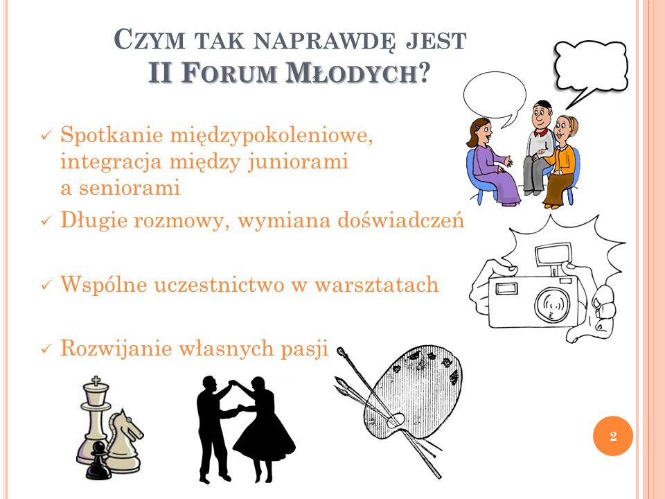 II F ORUM M ŁODYCH C ZYM TAK NAPRAWDĘ JEST II F ORUM M ŁODYCH ? Spotkanie międzypokoleniowe, integracja między juniorami a seniorami Długie rozmowy, w