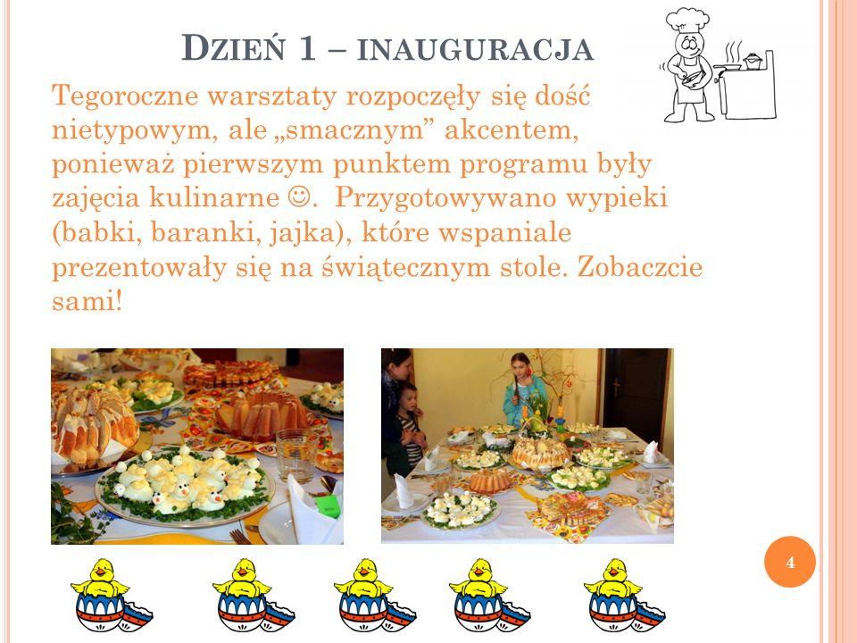 """D ZIEŃ 1 – INAUGURACJA Tegoroczne warsztaty rozpoczęły się dość nietypowym, ale """"smacznym akcentem, ponieważ pierwszym punktem programu były zajęcia kulinarne."""