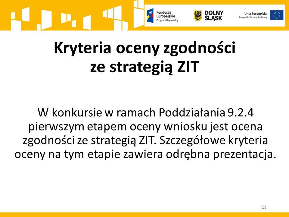 W konkursie w ramach Poddziałania 9.2.4 pierwszym etapem oceny wniosku jest ocena zgodności ze strategią ZIT.