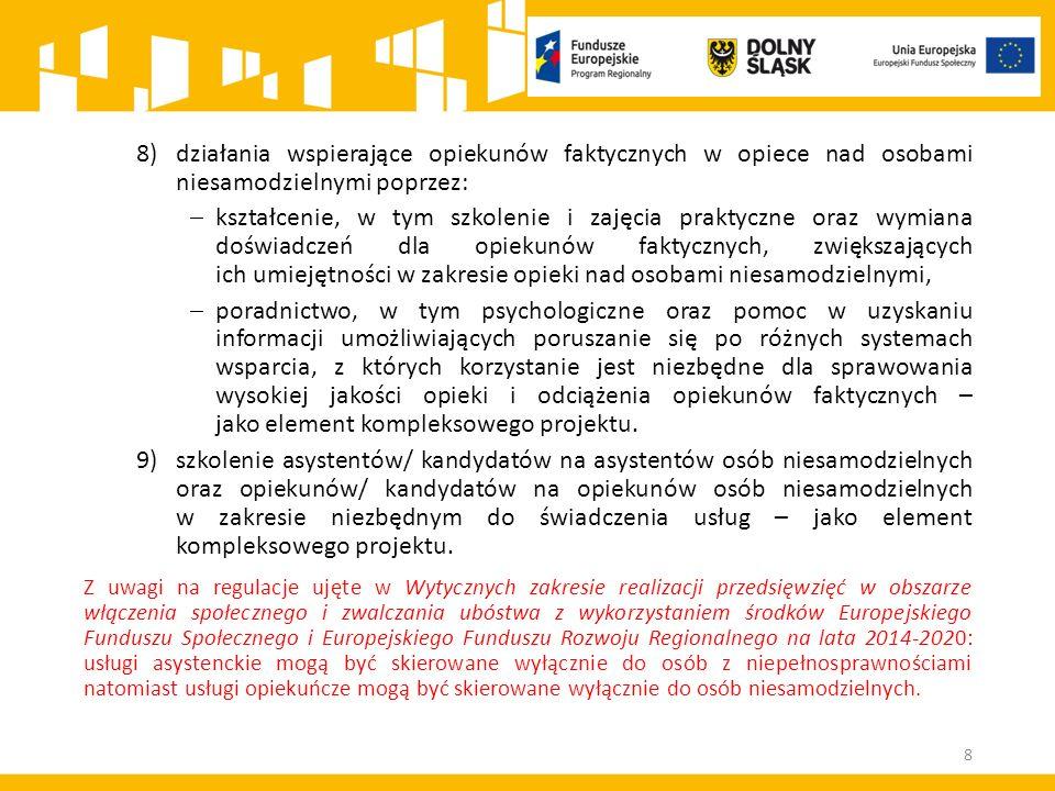 Mechanizm racjonalnych usprawnień W ramach przykładowego katalogu kosztów racjonalnych usprawnień jest możliwe sfinansowanie: a)kosztów specjalistycznego transportu na miejsce realizacji wsparcia; b)dostosowania architektonicznego budynków niedostępnych (np.