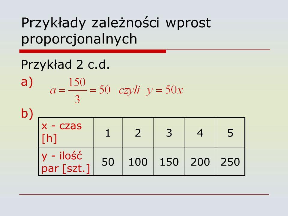 Przykłady zależności wprost proporcjonalnych Przykład 2 c.d. a) b) x - czas [h] 12345 y - ilość par [szt.] 50100150200250