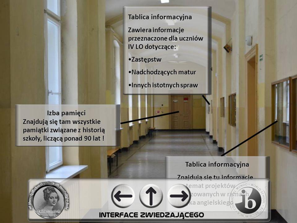 Tablica informacyjna Zawiera informacje przeznaczone dla uczniów IV LO dotyczące: Zastępstw Nadchodzących matur Innych istotnych spraw Izba pamięci Znajdują się tam wszystkie pamiątki związane z historią szkoły, liczącą ponad 90 lat .