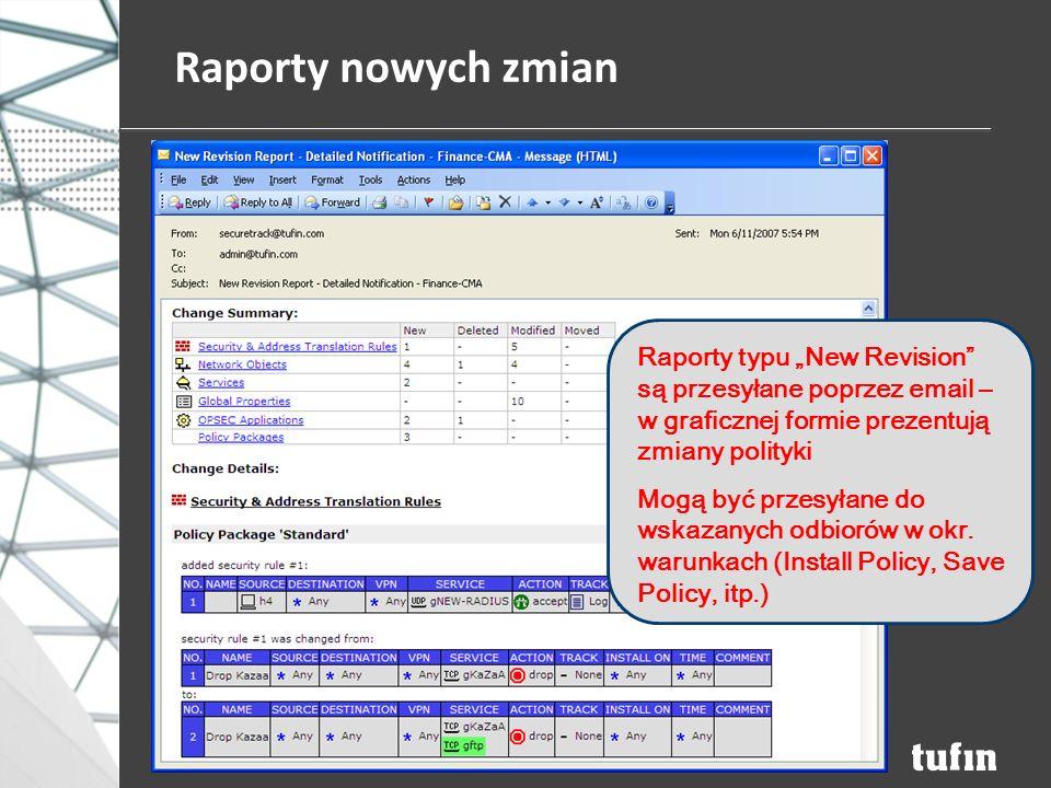 """Raporty nowych zmian Raporty typu """"New Revision są przesyłane poprzez email – w graficznej formie prezentują zmiany polityki Mogą być przesyłane do wskazanych odbiorów w okr."""