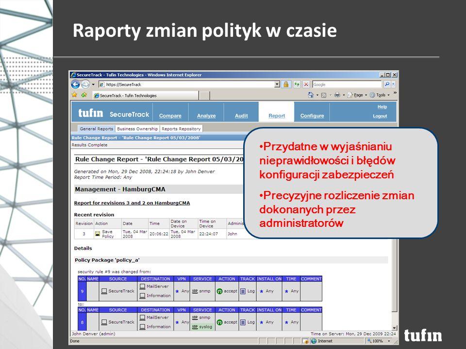 Raporty zmian polityk w czasie Przydatne w wyjaśnianiu nieprawidłowości i błędów konfiguracji zabezpieczeń Precyzyjne rozliczenie zmian dokonanych przez administratorów