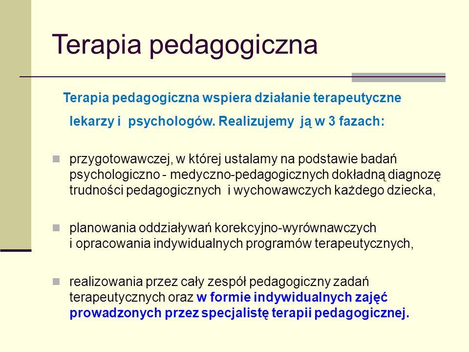Terapia pedagogiczna Terapia pedagogiczna wspiera działanie terapeutyczne lekarzy i psychologów. Realizujemy ją w 3 fazach: przygotowawczej, w której