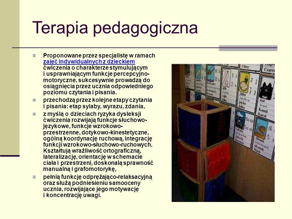 Terapia pedagogiczna Proponowane przez specjalistę w ramach zajęć indywidualnych z dzieckiem ćwiczenia o charakterze stymulującym i usprawniającym funkcje percepcyjno- motoryczne, sukcesywnie prowadzą do osiągnięcia przez ucznia odpowiedniego poziomu czytania i pisania.