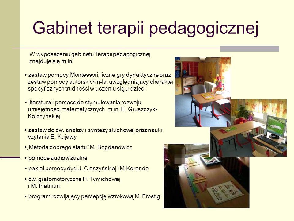 Gabinet terapii pedagogicznej W wyposażeniu gabinetu Terapii pedagogicznej znajduje się m.in: zestaw pomocy Montessori, liczne gry dydaktyczne oraz zestaw pomocy autorskich n-la, uwzględniający charakter specyficznych trudności w uczeniu się u dzieci.