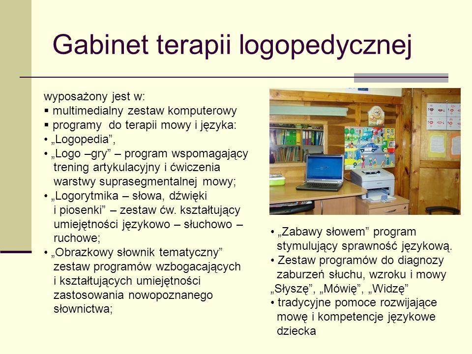 """Gabinet terapii logopedycznej wyposażony jest w:  multimedialny zestaw komputerowy  programy do terapii mowy i języka: """"Logopedia"""", """"Logo –gry"""" – pr"""