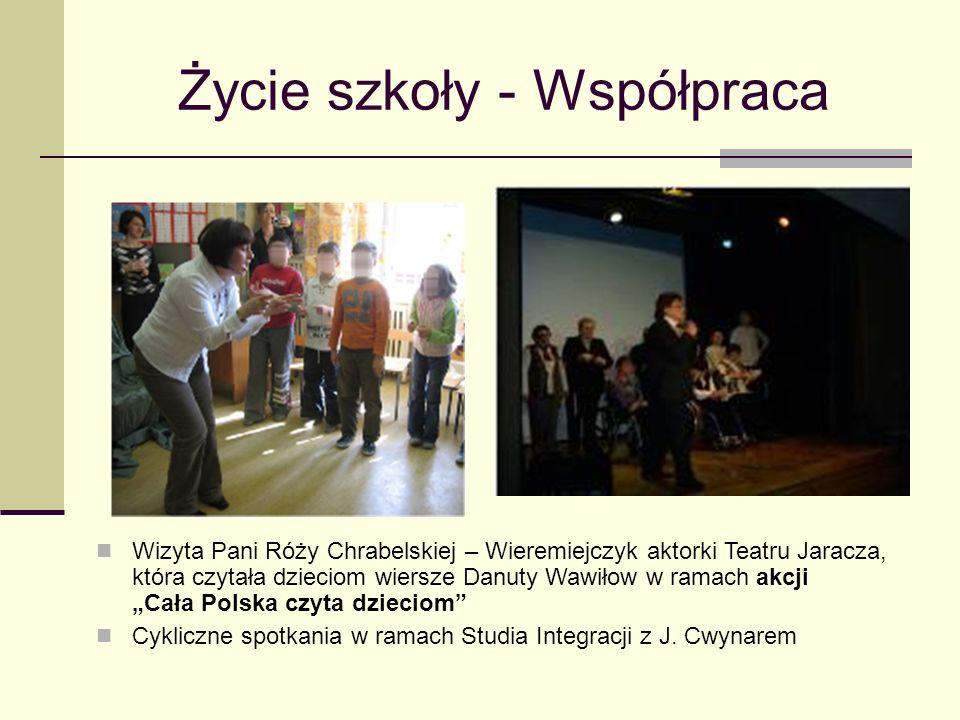 Życie szkoły - Współpraca Wizyta Pani Róży Chrabelskiej – Wieremiejczyk aktorki Teatru Jaracza, która czytała dzieciom wiersze Danuty Wawiłow w ramach