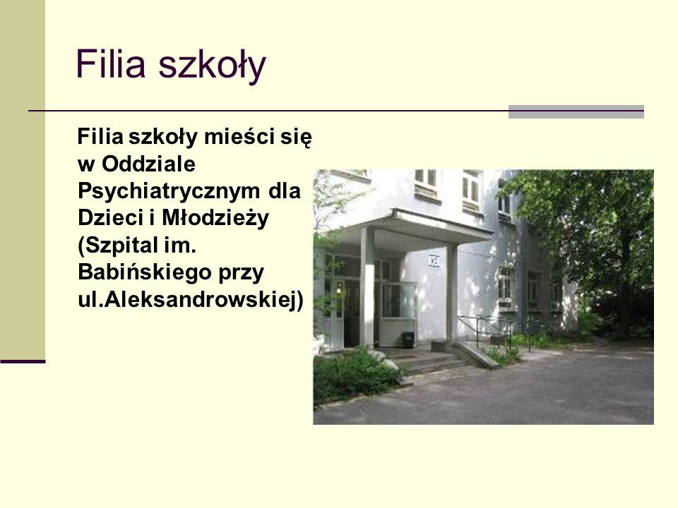 Filia szkoły Filia szkoły mieści się w Oddziale Psychiatrycznym dla Dzieci i Młodzieży (Szpital im. Babińskiego przy ul.Aleksandrowskiej)
