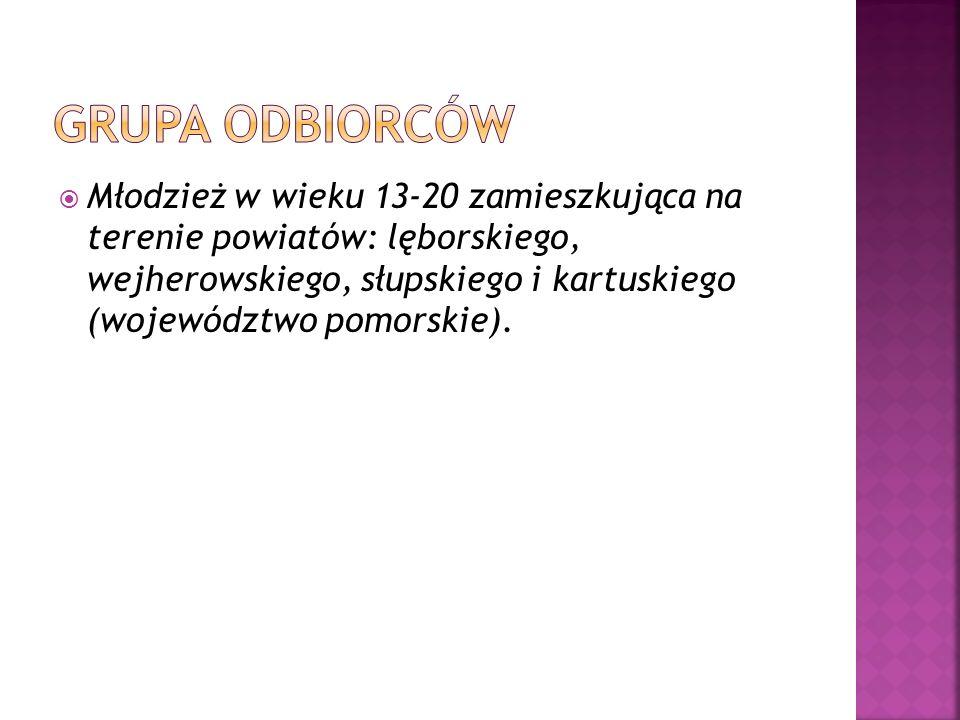  Młodzież w wieku 13-20 zamieszkująca na terenie powiatów: lęborskiego, wejherowskiego, słupskiego i kartuskiego (województwo pomorskie).