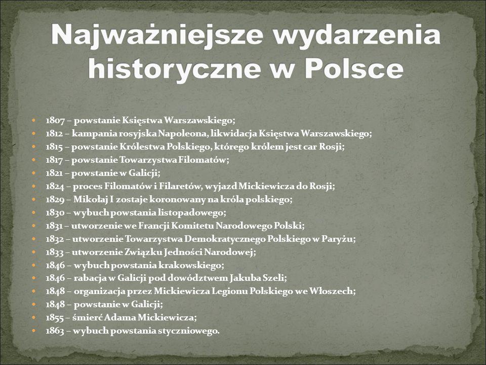 1807 – powstanie Księstwa Warszawskiego; 1812 – kampania rosyjska Napoleona, likwidacja Księstwa Warszawskiego; 1815 – powstanie Królestwa Polskiego,