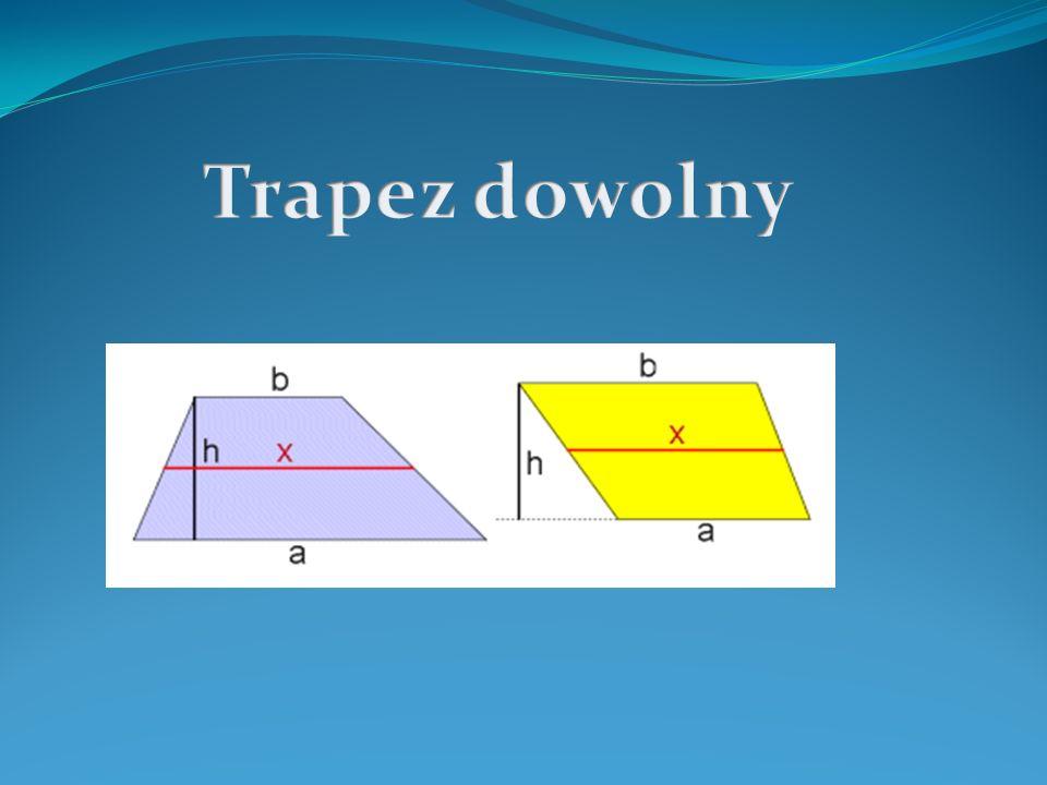 Pole trapezu a, b - długości podstaw trapezu h - wysokość trapezu Odcinek łączący środki ramion trapezu jest równoległy do podstaw tego trapezu i równy jest połowie sumy długości obu podstaw.