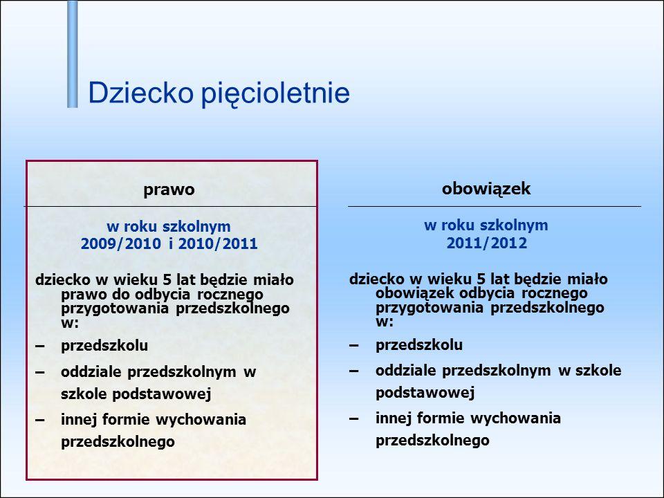 prawo w roku szkolnym 2009/2010 i 2010/2011 dziecko w wieku 5 lat będzie miało prawo do odbycia rocznego przygotowania przedszkolnego w: – przedszkolu