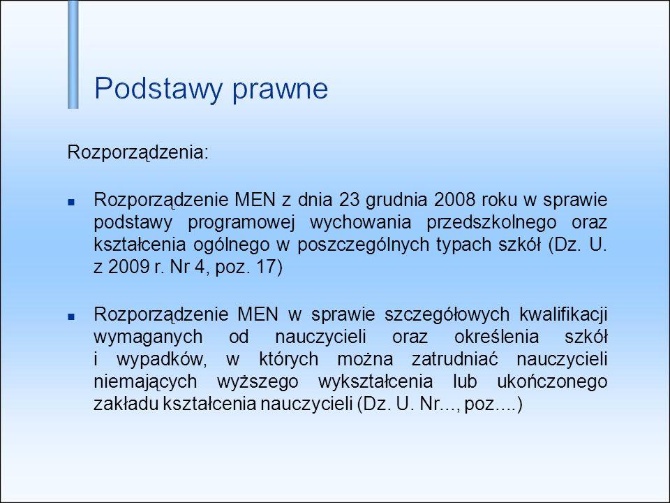 Rozporządzenia: Rozporządzenie MEN z dnia 23 grudnia 2008 roku w sprawie podstawy programowej wychowania przedszkolnego oraz kształcenia ogólnego w po