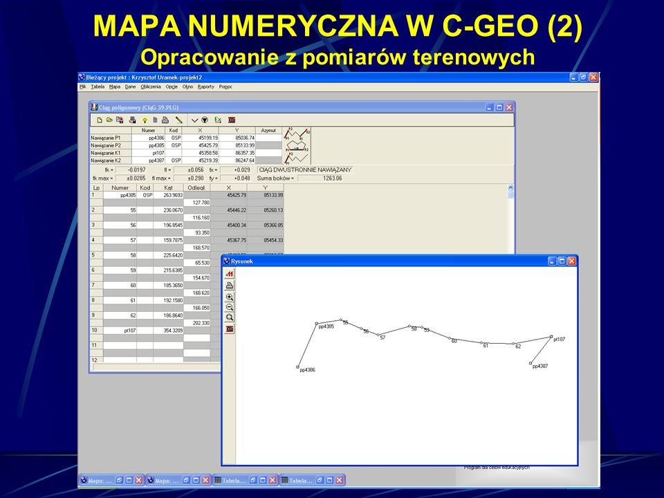 MAPA NUMERYCZNA W C-GEO (2) Opracowanie z pomiarów terenowych