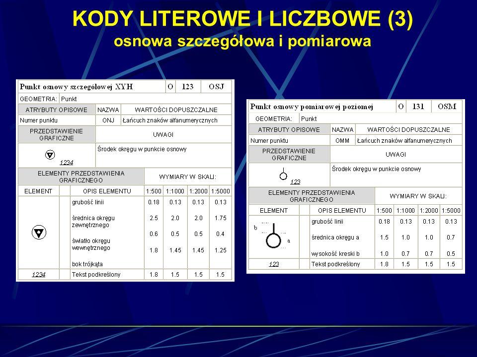 KODY LITEROWE I LICZBOWE (3) osnowa szczegółowa i pomiarowa