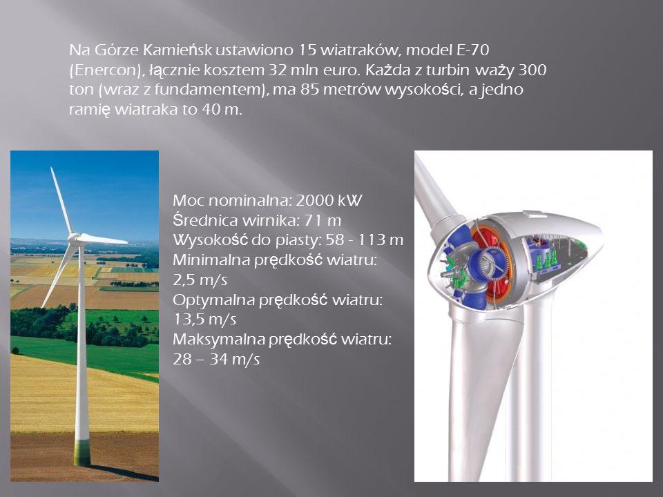 Na Górze Kamie ń sk ustawiono 15 wiatraków, model E-70 (Enercon), ł ą cznie kosztem 32 mln euro.