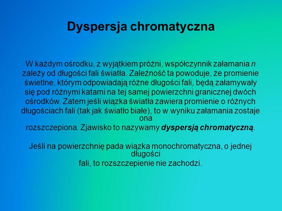 Dyspersja chromatyczna W każdym ośrodku, z wyjątkiem próżni, współczynnik załamania n zależy od długości fali światła. Zależność ta powoduje, że promi