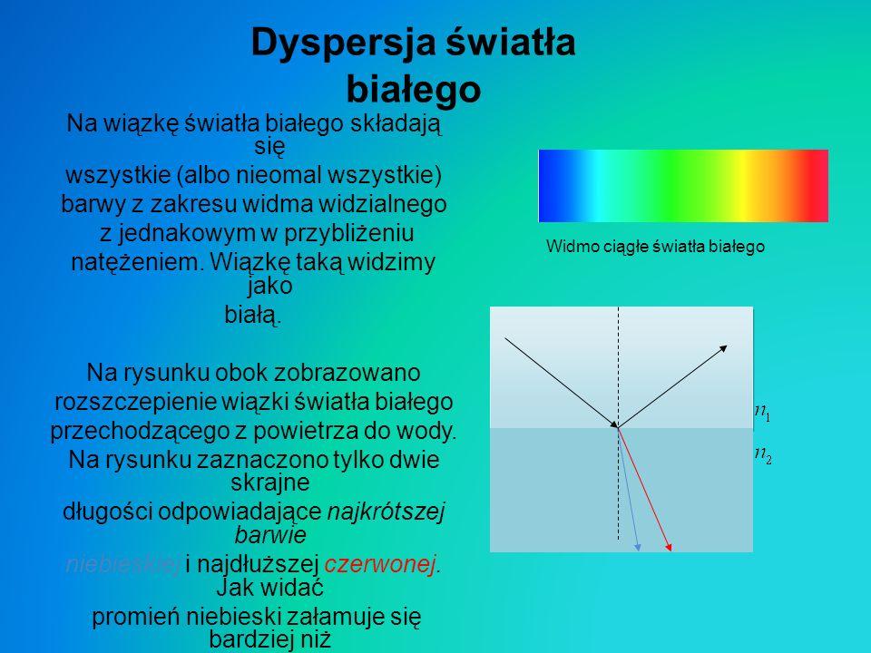 Dyspersja światła białego Na wiązkę światła białego składają się wszystkie (albo nieomal wszystkie) barwy z zakresu widma widzialnego z jednakowym w p