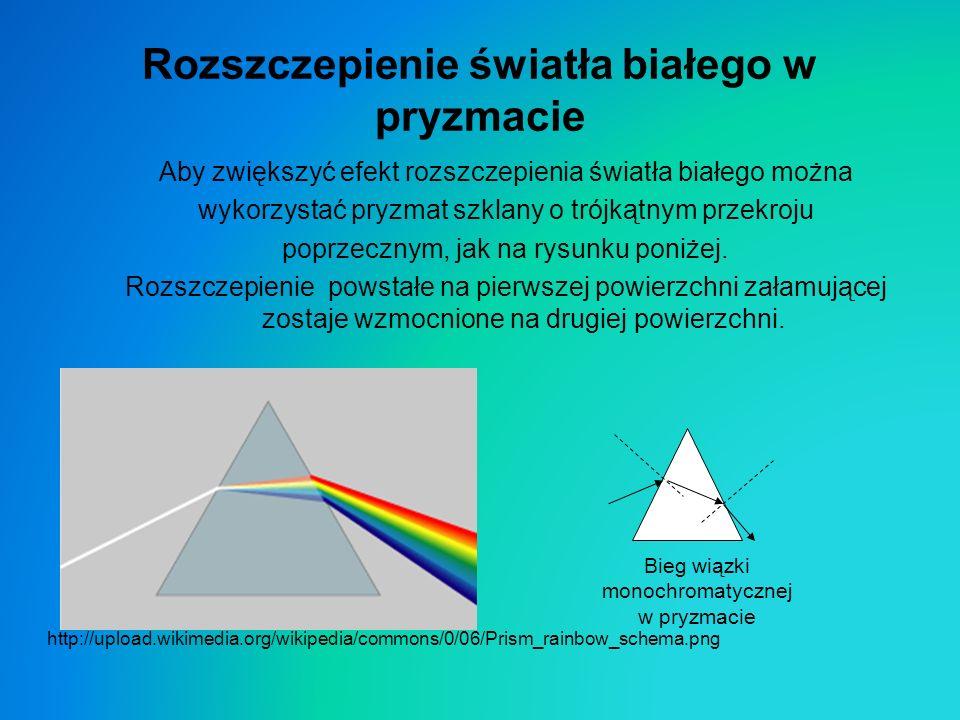 Rozszczepienie światła białego w pryzmacie Aby zwiększyć efekt rozszczepienia światła białego można wykorzystać pryzmat szklany o trójkątnym przekroju