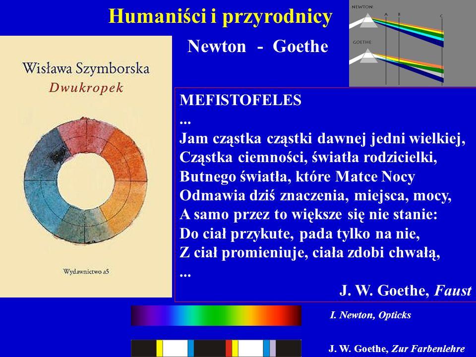 Humaniści i przyrodnicy Newton - Goethe MEFISTOFELES... Jam cząstka cząstki dawnej jedni wielkiej, Cząstka ciemności, światła rodzicielki, Butnego świ