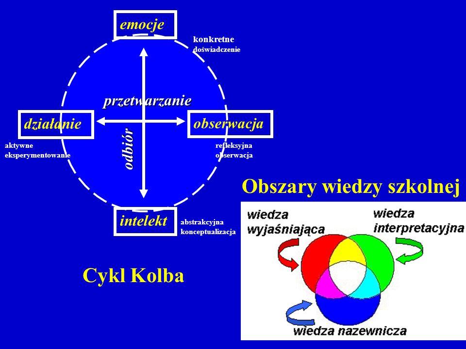 Cykl Kolba Obszary wiedzy szkolnej przetwarzanie odbiór obserwacja działanie intelekt emocje aktywne eksperymentowanie abstrakcyjna konceptualizacja konkretne doświadczenie refleksyjna obserwacja