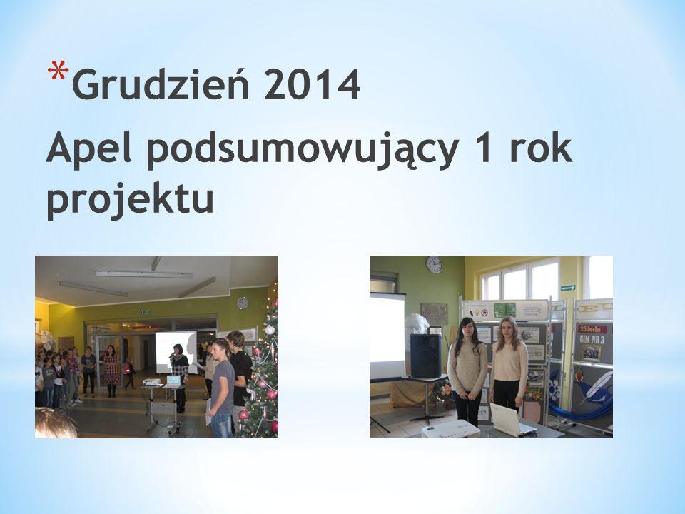 * Grudzień 2014 Apel podsumowujący 1 rok projektu