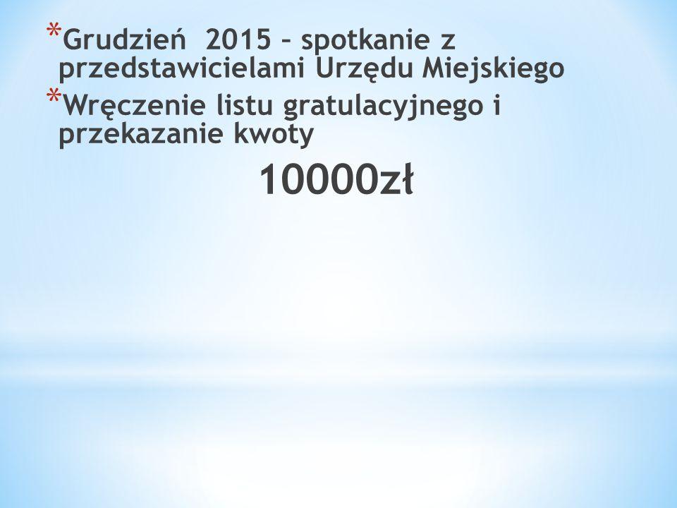 * Grudzień 2015 – spotkanie z przedstawicielami Urzędu Miejskiego * Wręczenie listu gratulacyjnego i przekazanie kwoty 10000zł