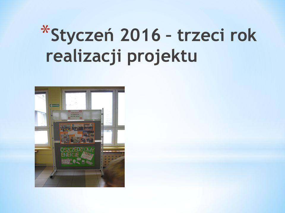 * Styczeń 2016 – trzeci rok realizacji projektu