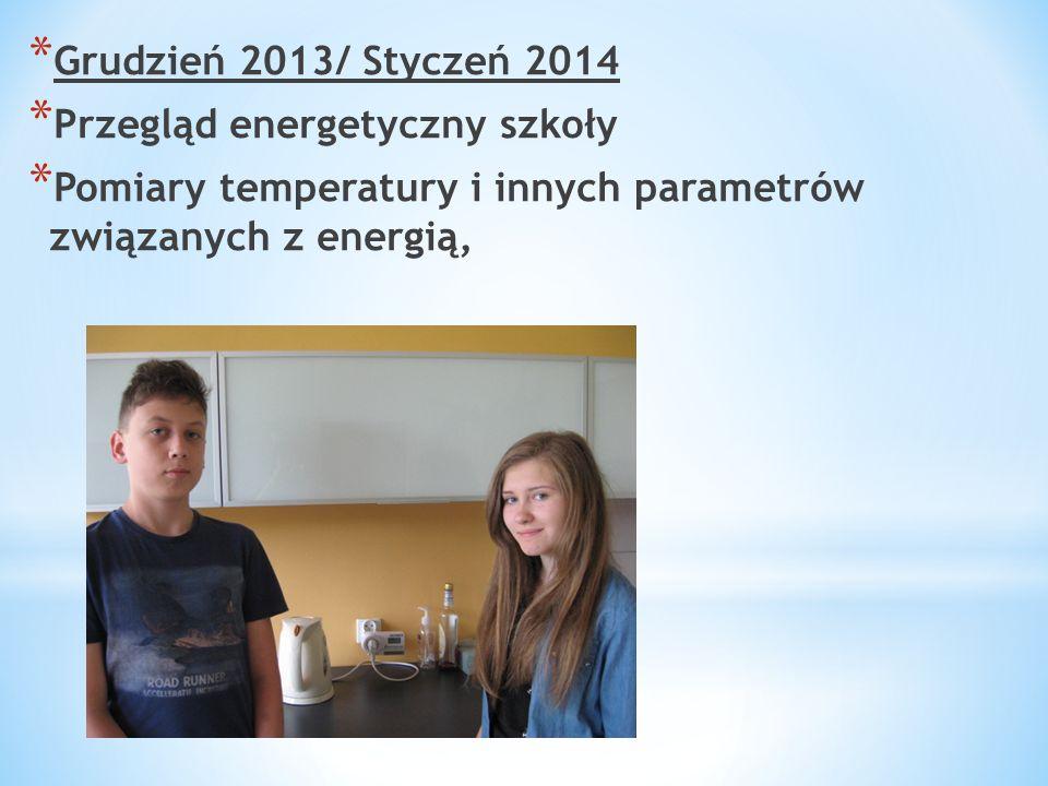 * Grudzień 2013/ Styczeń 2014 * Przegląd energetyczny szkoły * Pomiary temperatury i innych parametrów związanych z energią,