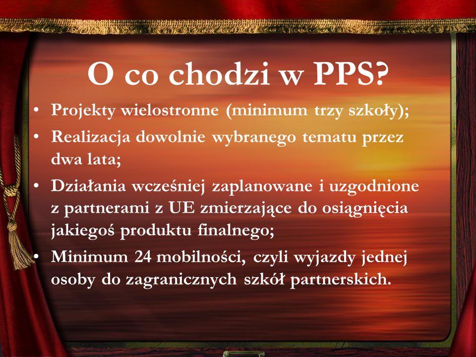 O co chodzi w PPS? Projekty wielostronne (minimum trzy szkoły); Realizacja dowolnie wybranego tematu przez dwa lata; Działania wcześniej zaplanowane i