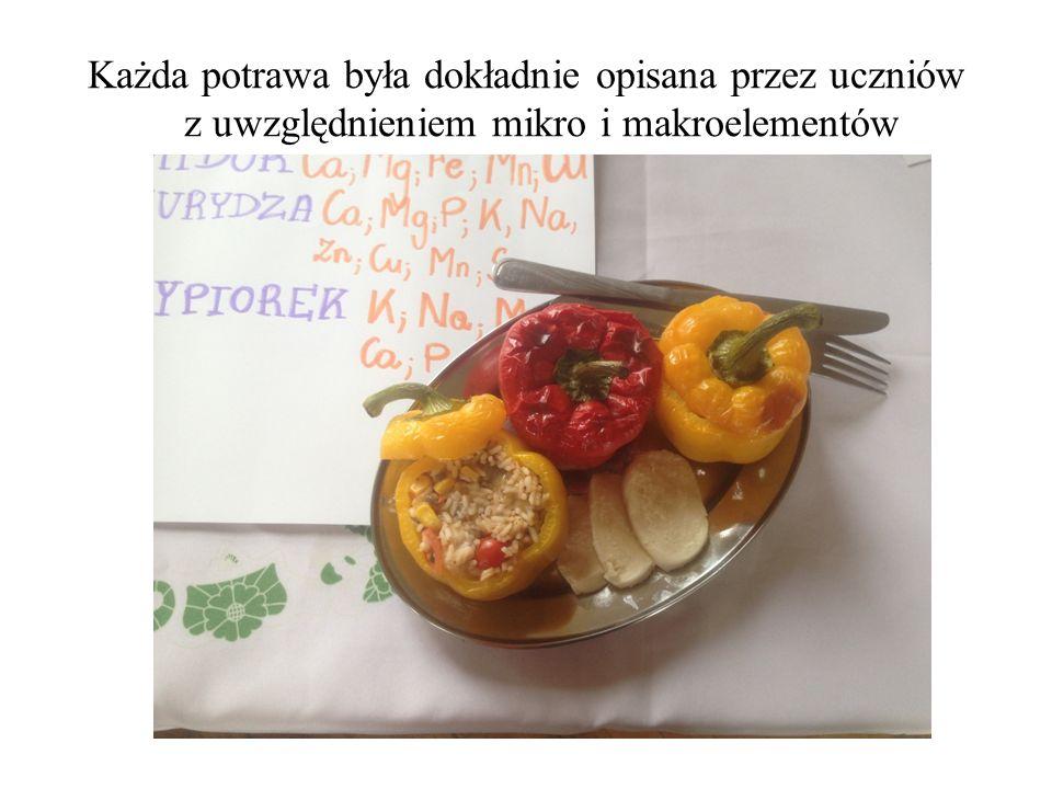 Każda potrawa była dokładnie opisana przez uczniów z uwzględnieniem mikro i makroelementów
