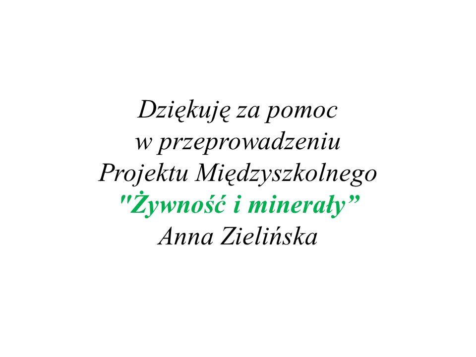 Dziękuję za pomoc w przeprowadzeniu Projektu Międzyszkolnego Żywność i minerały Anna Zielińska